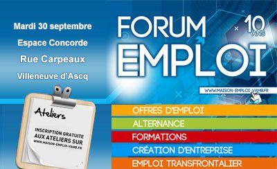 Forum Emploi le 30 septembre à Villeneuve d'Ascq