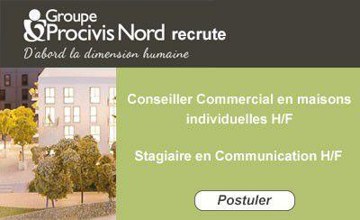 Procivis Nord recrute : Conseiller Commercial H/F, Stagiaire en Communication H/F