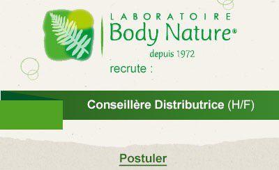 Body Nature recrute des Conseillère Distributrice (H/F) dans toute la région