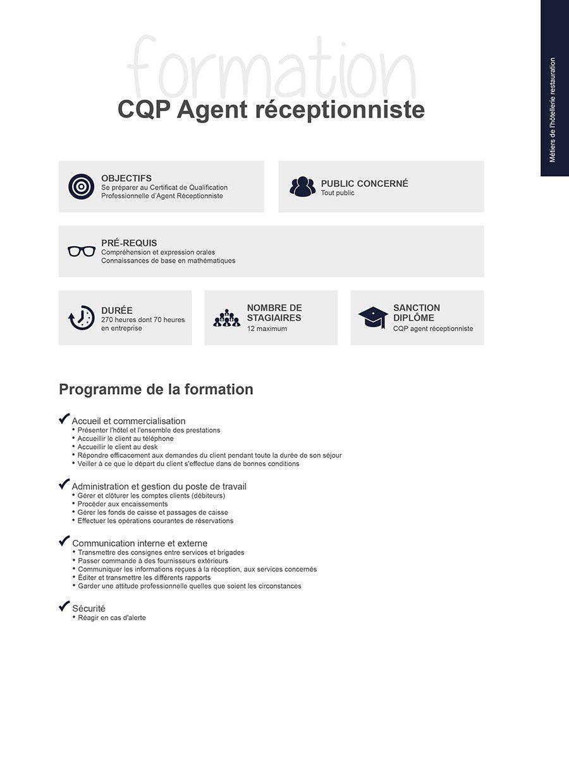 Formation en h tellerie restauration cqp agent for Offre emploi agent de restauration